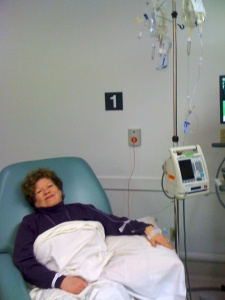 Joyce receiving first infusion of six.