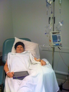 Joyce undergoing chemo treatment six