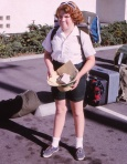 Joyce leaving for Girl Scout camp, age 12